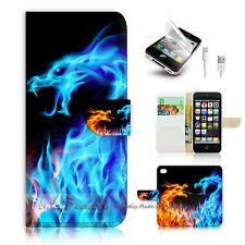 iPhone 5 5S Print Flip Wallet Case Cover! Fire and Ice Dragon P0428