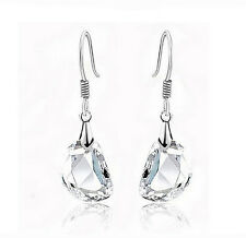 Women 925 Sterling Silver Plated Ear Hook Crystal Rhinestone Dangle Earrings ^^