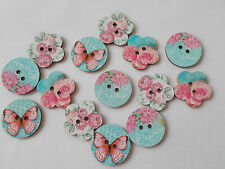 10 WOOD SEWING BUTTON FLOWER/BUTTERFLY PATTERN MIXED CRAFTS/SCRAPBOOKING (##)