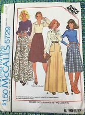 70's McCalls Sewing Pattern 5729 Misses Patch Pocket Front Skirt Sz 14- 16