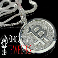 14K WHITE GOLD ON REAL STERLING SILVER LAB DIAMOND BITCOIN QR PENDANT CHAIN SET