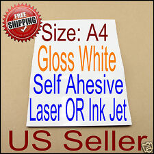 x20 A4 Printable Gloss White Self Adhesive Sticker Paper Ink Laser Printer