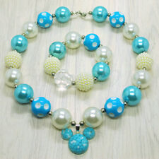 Blue Mickey Chunky Beads Bubblegum Necklace Bracele for Kids Christmas Gift Set