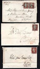 IRELAND 1851 UK BELFAST S.G. 8 ON THREE COVERS ONE WITH PAIR TO BRISTOL & INTER