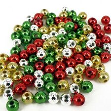 CHRSITMAS RED GREEN GOLD SILVER PEARLS 120 BEADS 6mm CRAFT PB6