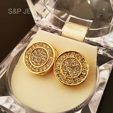 Lab Simulated Diamond Gold Tone Hip Hop Iced Out 15mm Big Bling Circle Earrings