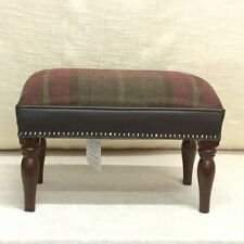 Footstool upholstered in Lochranza plaid 100% wool