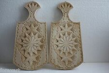 Pair of Cutting Board Hand Carved Decorated Rustic Kitchen Wall Decoration Russ