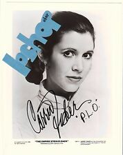 "Rare CARRIE FISHER Signed AUTOGRAPH PHOTO Empire Strikes Back STAR WARS ""P.L.O."""
