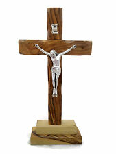 "10"" 25 cm Olive Wood Standing Altar Table Cross Crucifix Bethlehem Holyland"
