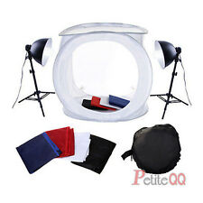 Portable 80cm Photo Studio Tent Light Kit Softbox Cube stand + 4 Backdrop set UK