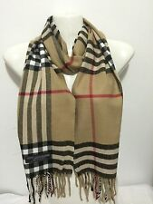 100% CASHMERE SCARF MADE IN SCOTLAND BIG PLAID DESIGN COLOR BEIGE UNISEX SOFT
