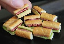 10 Subway Sandwich Dollhouse Miniatures Handmade from Clay Food Supply Fast Food