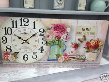 Shabby Vintage French Chic Style  Box Print Home Sweet Home & Roses Wall Clock.