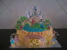 Disney Princess Castle Scene **WAFER** Edible Cake Decoration Set Personalised