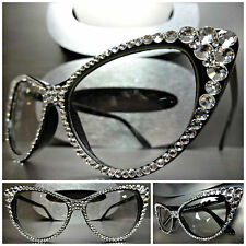 Women's VINTAGE 60s CAT EYE Style Clear Lens EYE GLASSES Clear Crystals Handmade