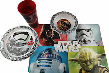 Star Wars 4 Piece Child's Dinner Set - Plate, Place Mat, Bowl And Cup