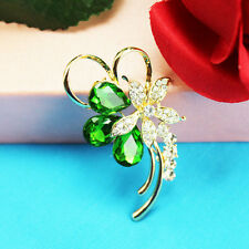 Gold Tone flowers Diamante Full  Crystal Brooch Scarf clips Women Party EA370