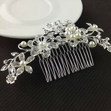 Beauty Bride Crystal Rhinestone Wedding Flower Pearls Hair Clip Hair Comb