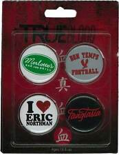 True Blood - Pin set #2 NEW * 4 badges Fangtasia Love Eric Bon Temps Merlotte's