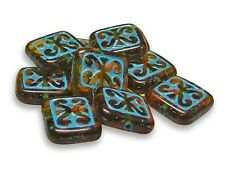 10x12mm Blue Turquoise Inlayed Amber Czech Glass Flat Rectangle Beads (10) #228