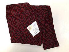 Lularoe One Size OS Black Red Hedge Maze Leggings -- SUPER SOFT -- NWT