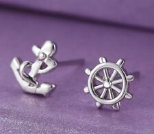 STERLING SILVER PLATED ANCHOR & HELM STUD EARRINGS