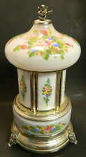 Vintage Hand Painted Glass & SP Footed Regue Figural Lipstick Cig. Music Box