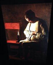 """Georges De La Tour """"Woman With A Flea"""" French Baroque 35mm Glass Slide"""