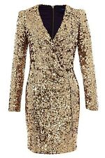 ICONIC BNWT 12 FRENCH CONNECTION ALEXIS SAMANTHA GOLD SEQUIN  PARTY DRESS XMAS