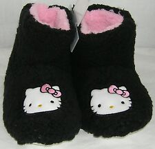 Hello Kitty Slipper Booties BLACK PLUSH NICE GIFT FREE USA SHIPPING LARGE 9-10