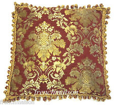 ITALIAN Venetian Sofa/Bed CUSHION/PILLOW CASE Jacquard Woven Red Gold Fringe New