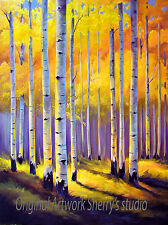 "HUGE  ORIGINAL OIL  Painting Aspen Trees   30 x40""  Fall Landscape Sherry Price"