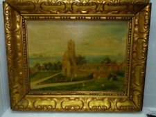 Antique English Painting O/C, Ruins of St. Mary's Abbey on Sea, F. Adler 30x40cm