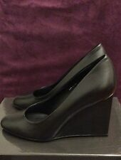 Calvin Klein CK Black Leather Wedge Shoes Size 38 RRP$277