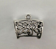 10PCS Antiqued silver Floral Design Scarf Ring Bails FC15444