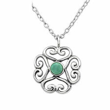 925 Sterling Silver Genuine Amazonite necklace pendant  gift 13mm x 13mm