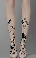 Black Birds Floral Designer Gothic Sheer Pattern Tights/Pantyhose One Size