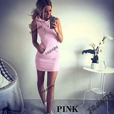 UK Womens Slim Bodycon Summer Bandage Mini Dress Ladies Hoodie Tops Size 6-14
