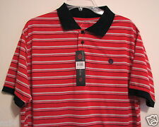 Swiss Cross NWT Polo Golf Large Shirt 100% Polyester Red Black Gray Stripe