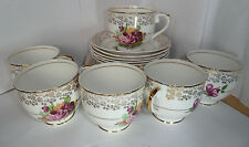 English Bone China 18 Piece Pall Mall 22KT Gold Gilt Roses Tea Set C1950