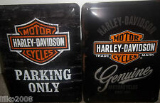 HARLEY DAVIDSON PARKING/GENUINE (PACK OF 2), 20X15 CM, EMBOSSED METAL WALL SIGNS
