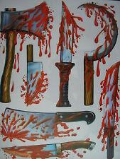 Halloween Reutilizables De Vidrio, Espejo, Ventana chorreando sangre pegatinas tortura Herramientas