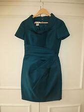 Vestido Renta Verde Azulado Oscar de la UK 10 nos 6 usado una vez vale la pena £ 3000+ Seda