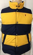 Ralph Lauren Polo Puffer Vest Boys Medium 10 12 Blue Yellow Red Pony New