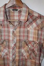 Mens SALT VALLEY S/S Western Urban Outfitters Snap Blue Plaid Shirt Sz M