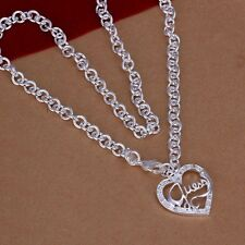 New Women 925 Sterling Silver Plated Hollow Guess Heart Pendant Necklace Chain