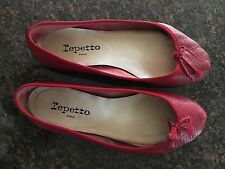 Repetto Red Ballet Slipper Flats Size 39.5 or 8 Run Small $270 Pebble Leather