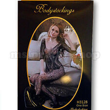 One Size 8 - 12 Mesh Fishnet leafy Patterned 3/4 Sleeve Scoop Neck Bodystocking