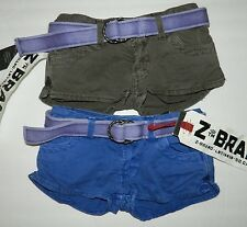 Lot of 2 girls NWT Z BRAND girls Blue Purple + Olive Denim Belted SHORTS* 7  $68